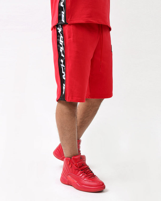ZIP PANEL SHORTS-COLOR: RED