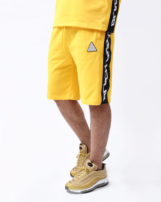ZIP PANEL SHORTS-COLOR: YELLOW