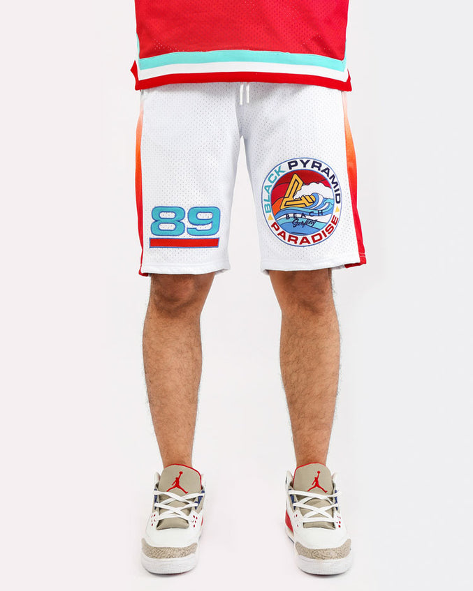SURF PARADISE JERSEY SHORTS-COLOR: WHITE
