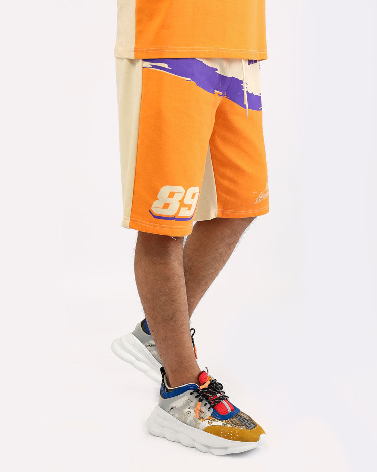 BLK RACEWAY SHORTS-COLOR: ORANGE