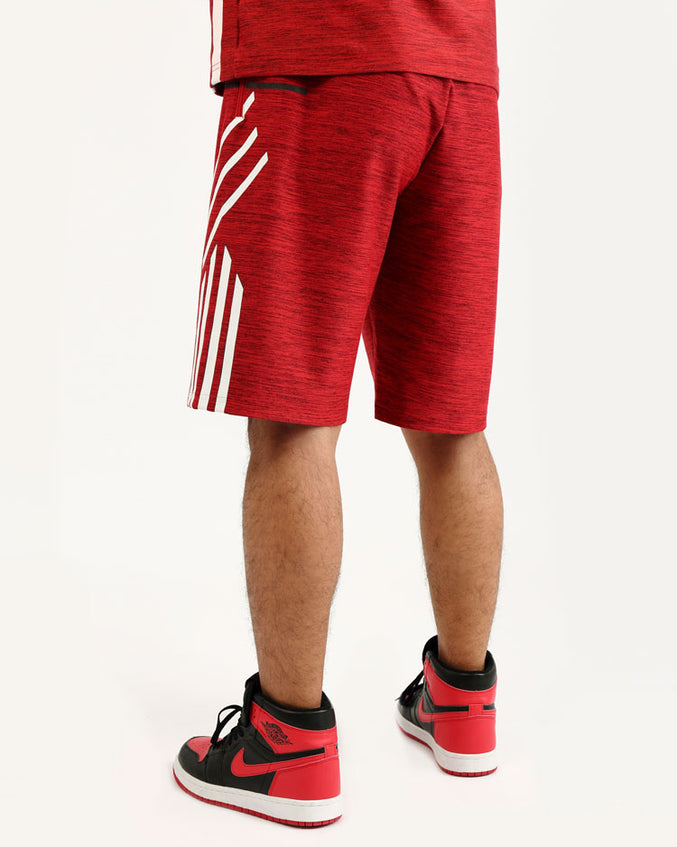 BIG AND TALL BLACK CYBER SHORT-COLOR: RED