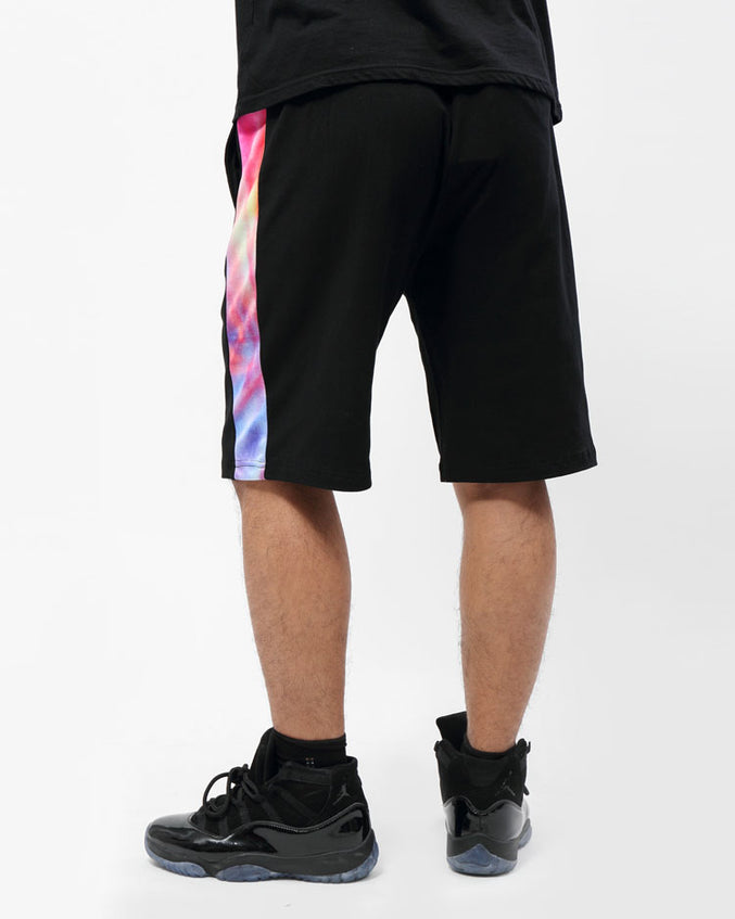 CONTRAST SIDE PANEL SHORTS-COLOR: BLACK