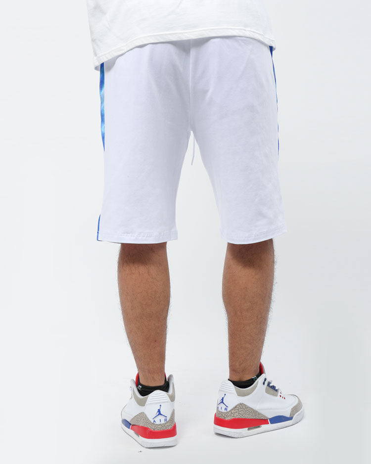 CONTRAST SIDE PANEL SHORTS-COLOR: WHITE
