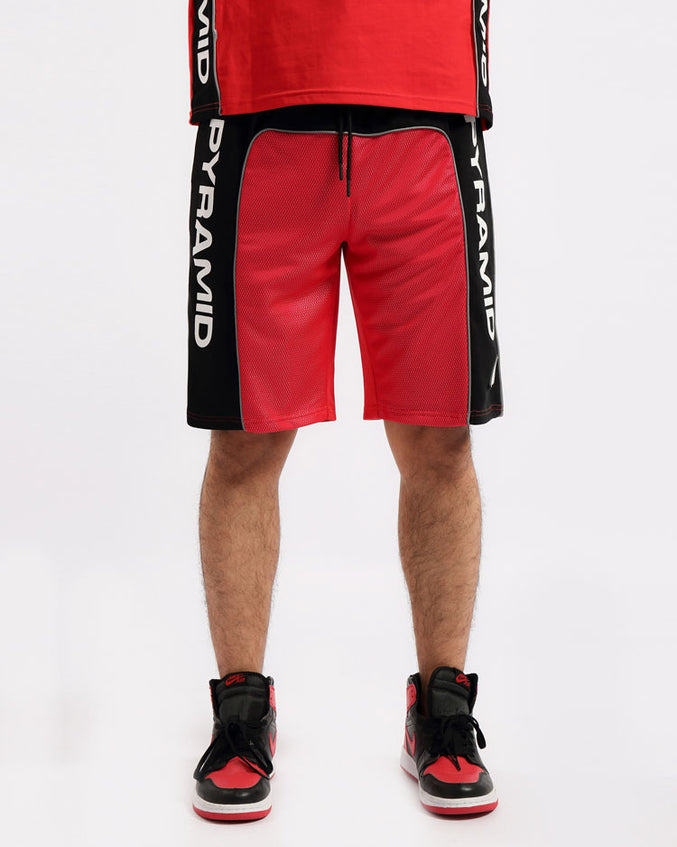 BIG AND TALL USA REFLECTIVE SHORT-COLOR: RED