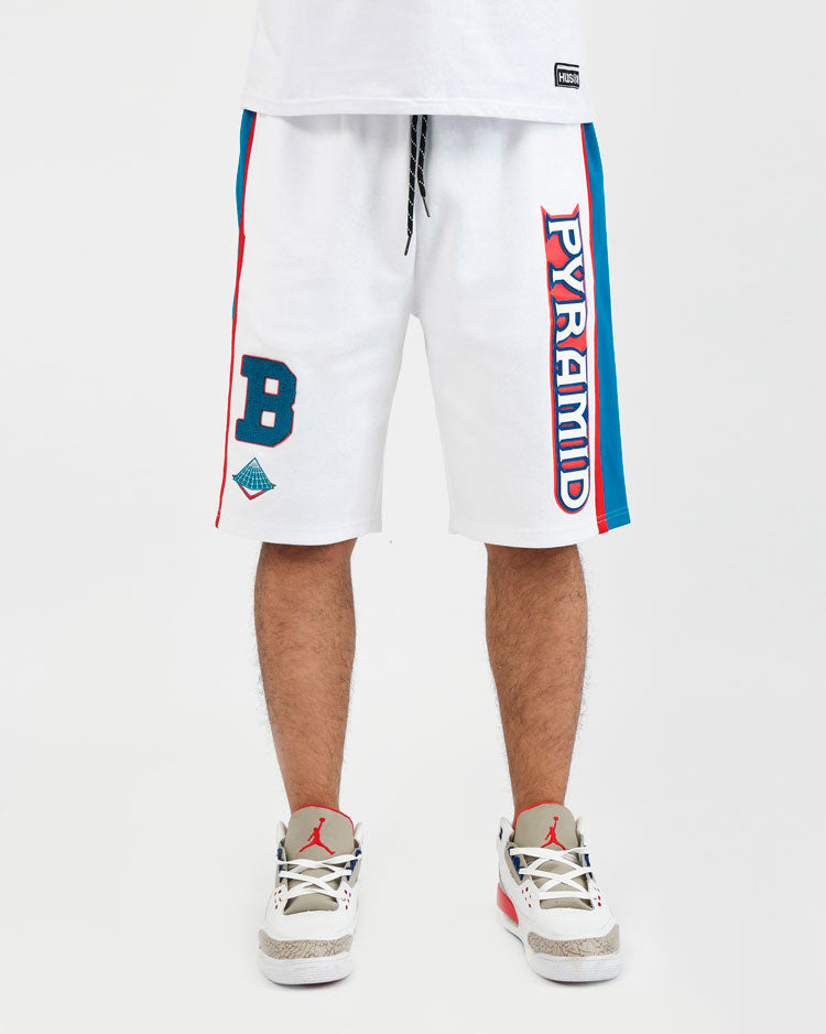 COLLEGE SPORT SHORTS-COLOR: WHITE