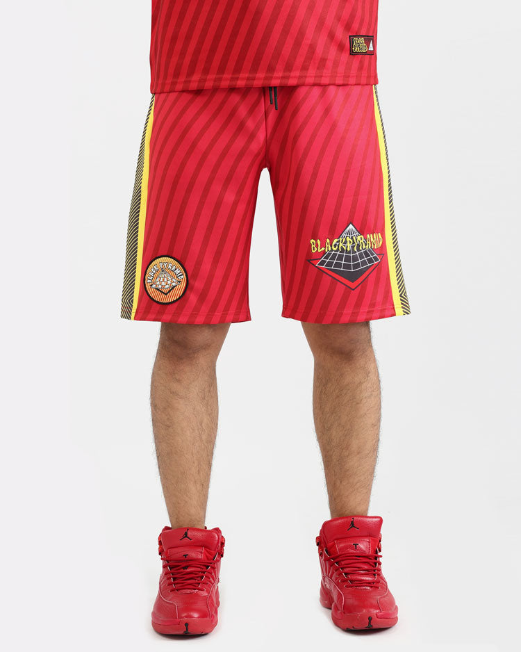 PSYCHEDELIC LOGO SHORTS-COLOR: RED