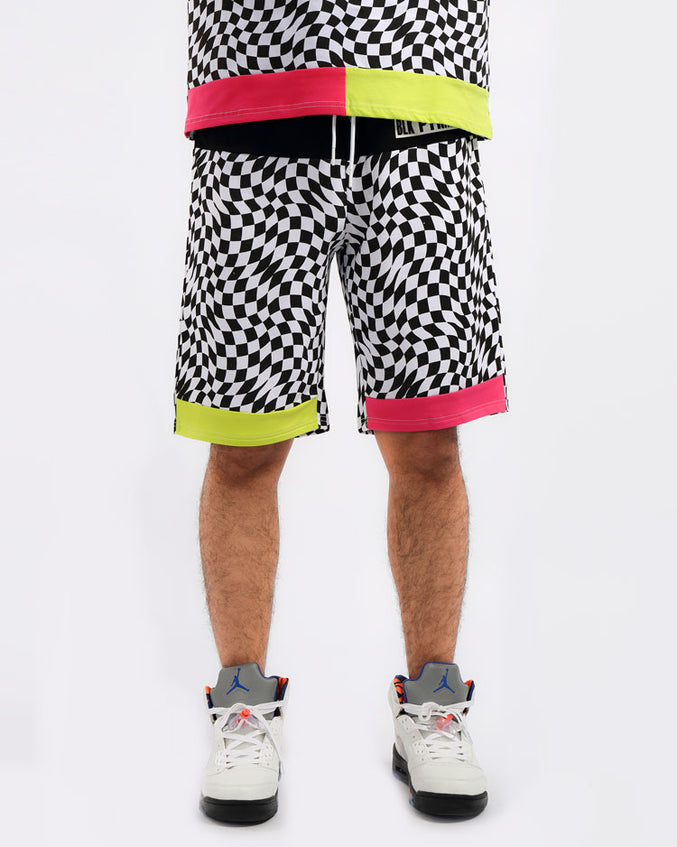 BIG AND TALL OPTICAL SHORTS-COLOR: WHITE