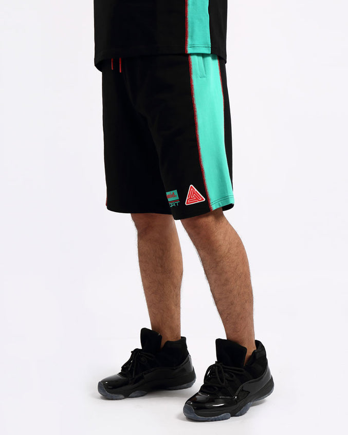 REVERSE TERRY SPORT SHORTS-COLOR: BLACK