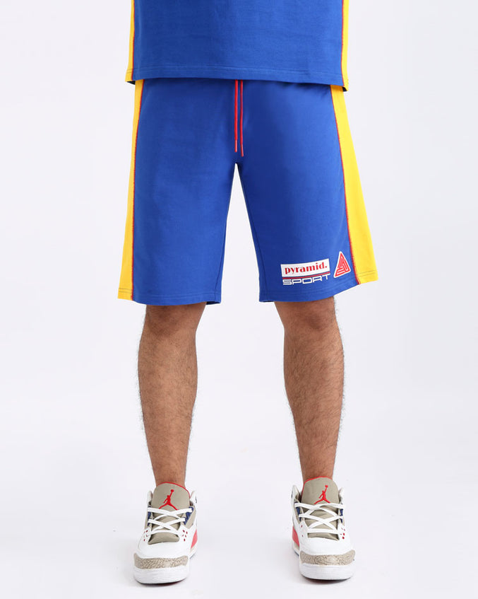REVERSE TERRY SPORT SHORTS-COLOR: BLUE