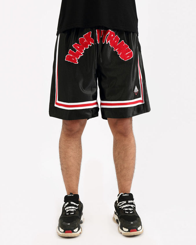 ARCHED DRIP B BALL SHORTS-COLOR: BLACK