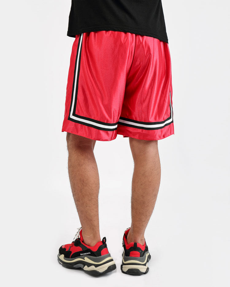 ARCHED DRIP B BALL SHORTS-COLOR: RED