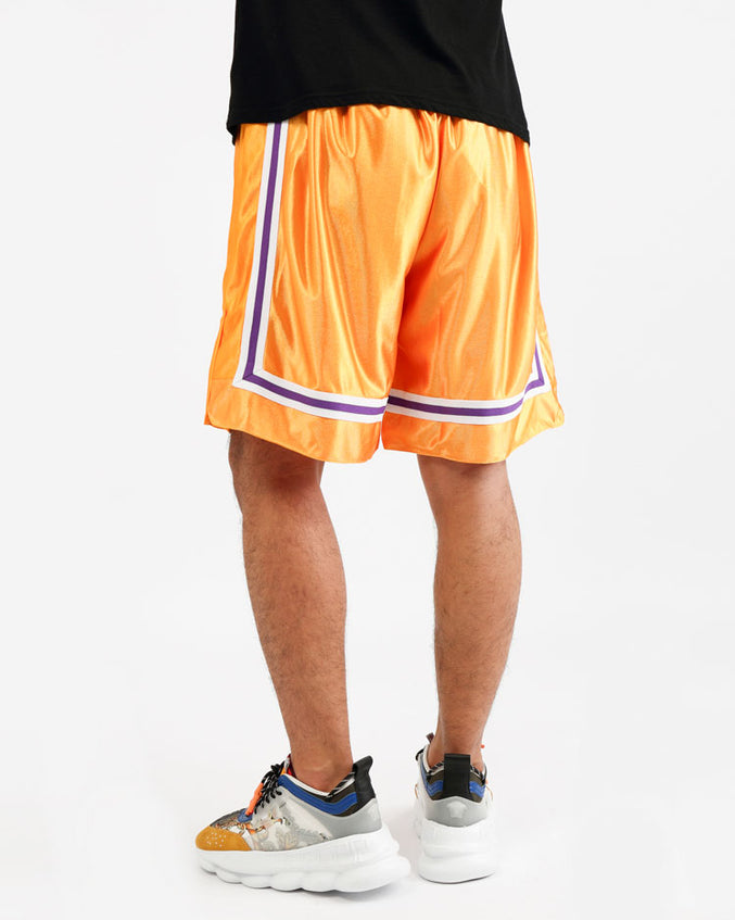 ARCHED DRIP B BALL SHORTS-COLOR: YELLOW