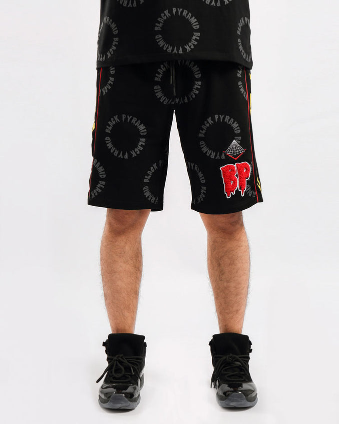 CIRCLE DRIP MONOGRAM SHORTS-COLOR: BLACK