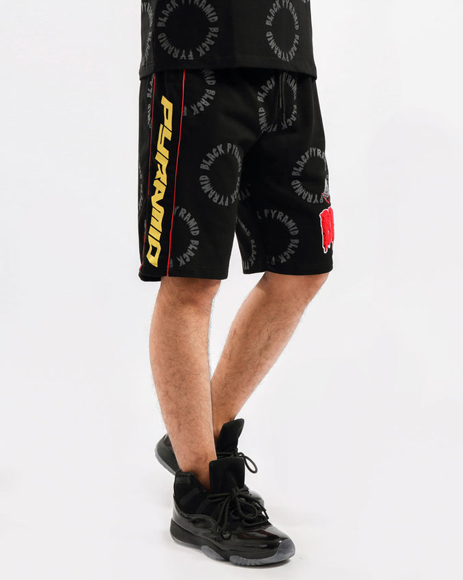 BIG AND TALL CIRCLE DRIP MONOGRAM SHORTS-COLOR: BLACK