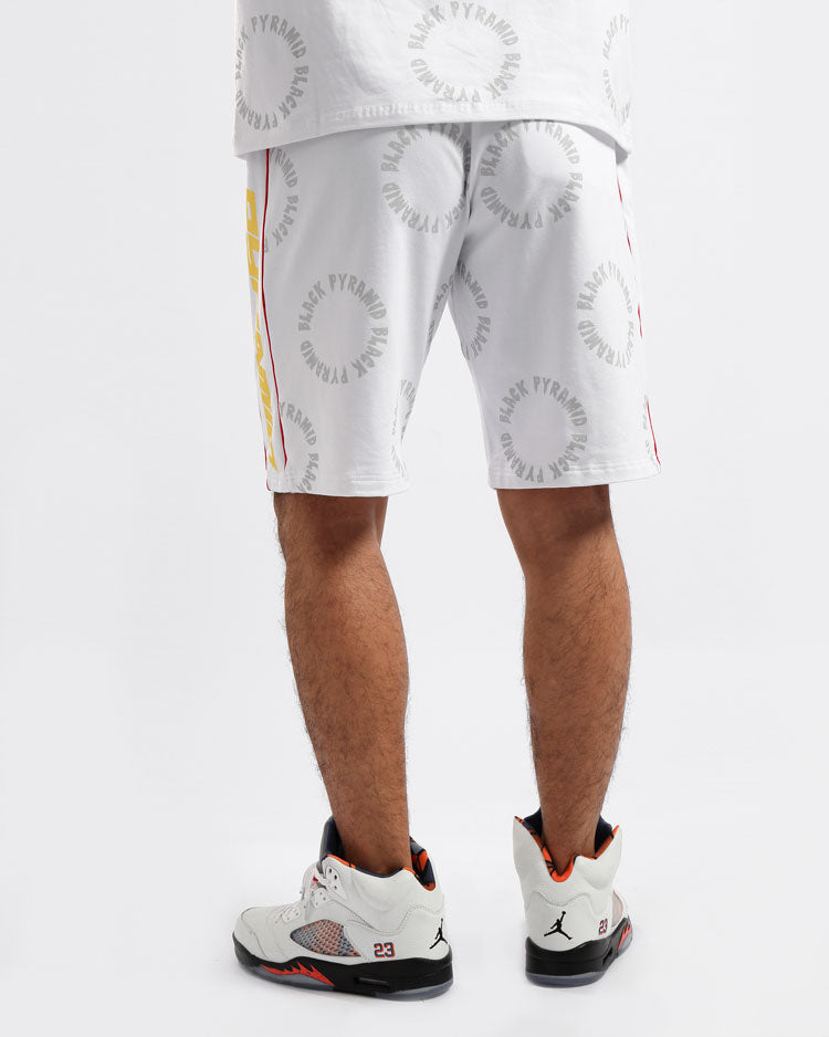 BIG AND TALL CIRCLE DRIP MONOGRAM SHORTS-COLOR: WHITE