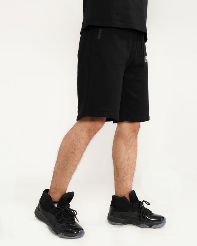 CORE 3D RUBBER PATCH SHORTS-COLOR: BLACK
