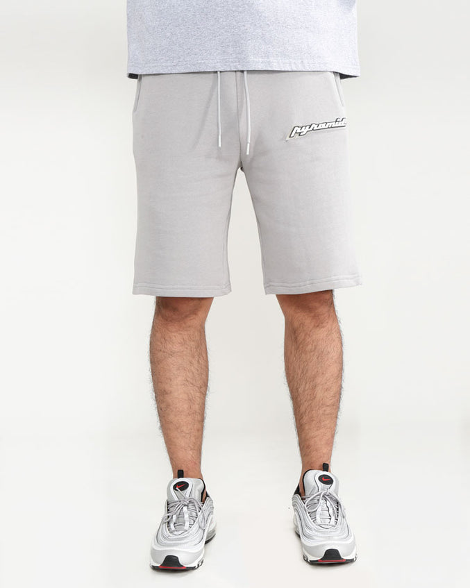 CORE 3D RUBBER PATCH SHORTS-COLOR: HEATHER GRAY