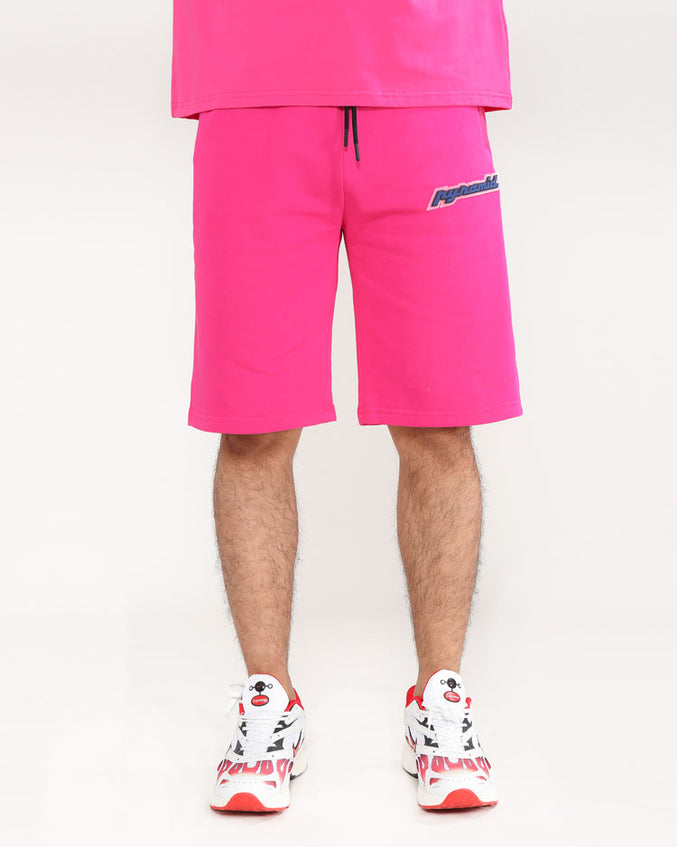 CORE 3D RUBBER PATCH SHORTS-COLOR: PINK