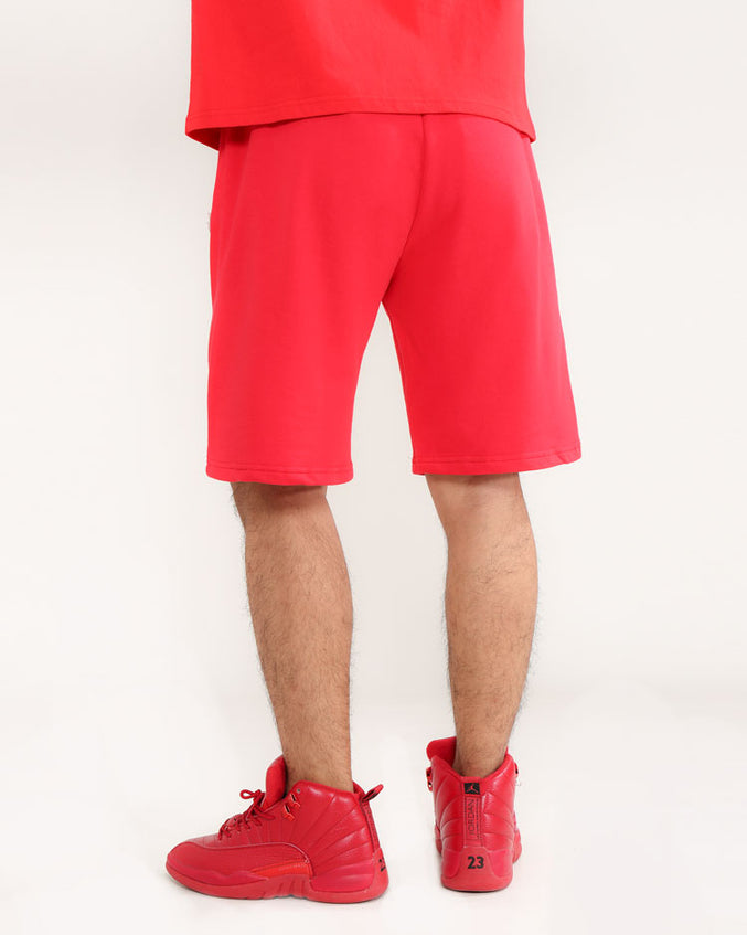 CORE 3D RUBBER PATCH SHORTS-COLOR: RED