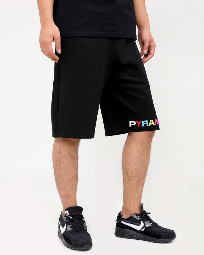 BP SPLIT TEXT SHORT-COLOR: BLACK