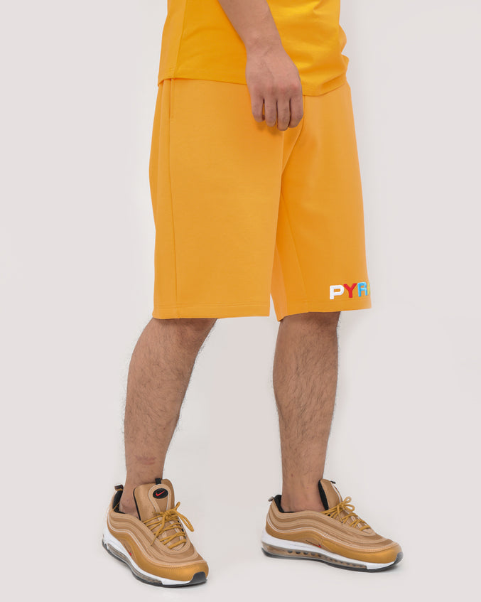 BP SPLIT TEXT SHORT-COLOR: ORANGE