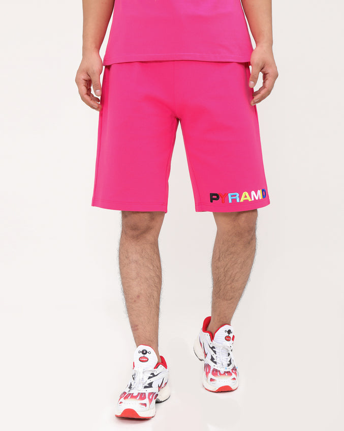 BP SPLIT TEXT SHORT-COLOR: PINK
