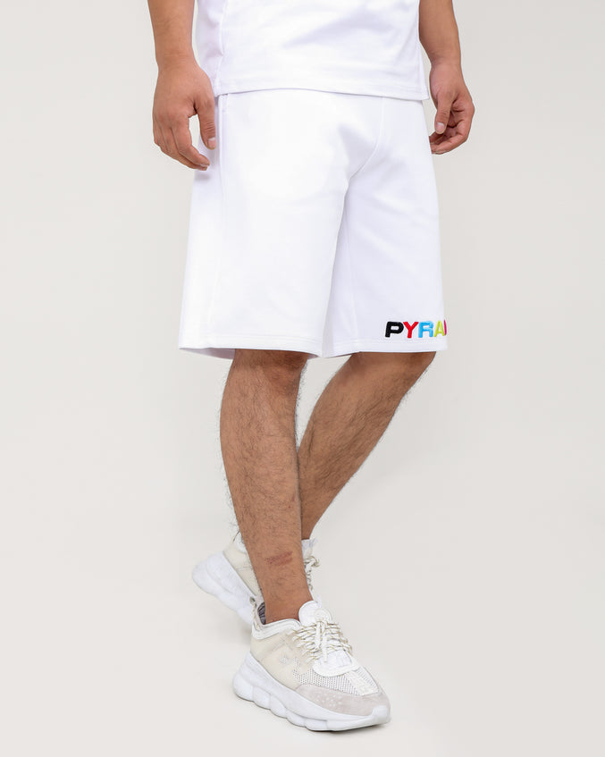 BP SPLIT TEXT SHORT-COLOR: WHITE
