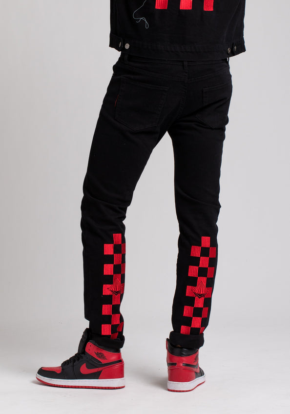 BP CHECKER DENIM PANTS - Color: Black