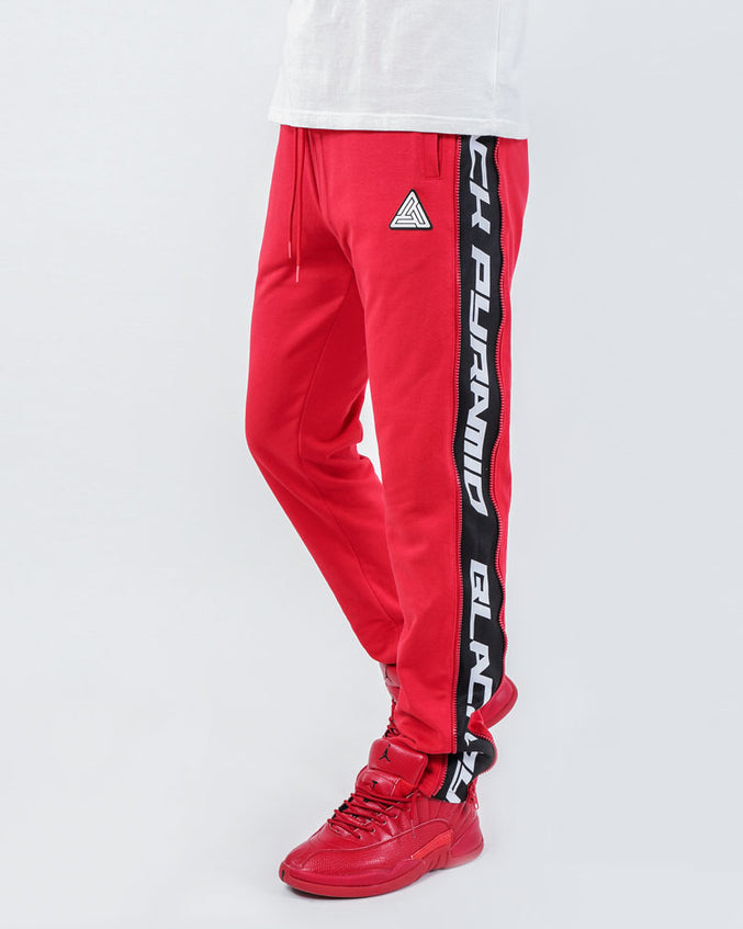 ZIP PANEL PANTS-COLOR: RED