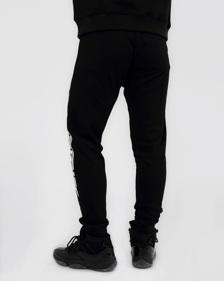 SLANT ZIPPER PANTS-COLOR: BLACK