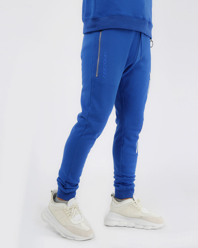 SLANT ZIPPER PANTS-COLOR: BLUE