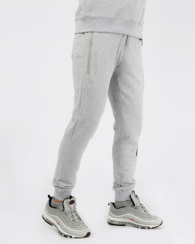 SLANT ZIPPER PANTS-COLOR: HEATHER GRAY