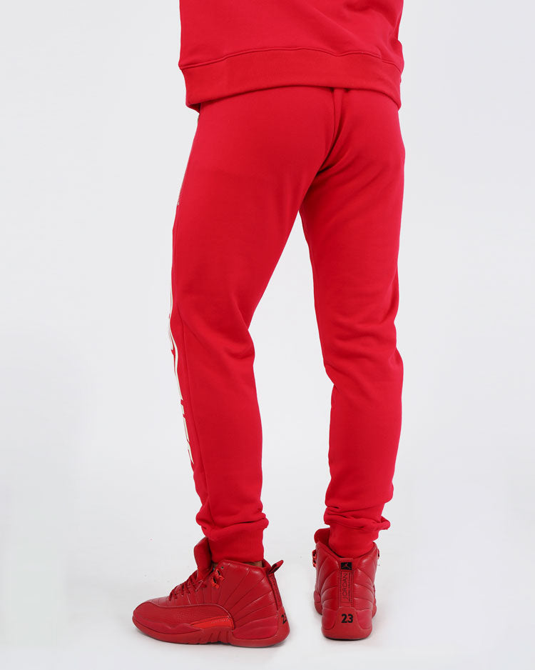 BIG AND TALL SLANT ZIPPER PANTS-COLOR: RED