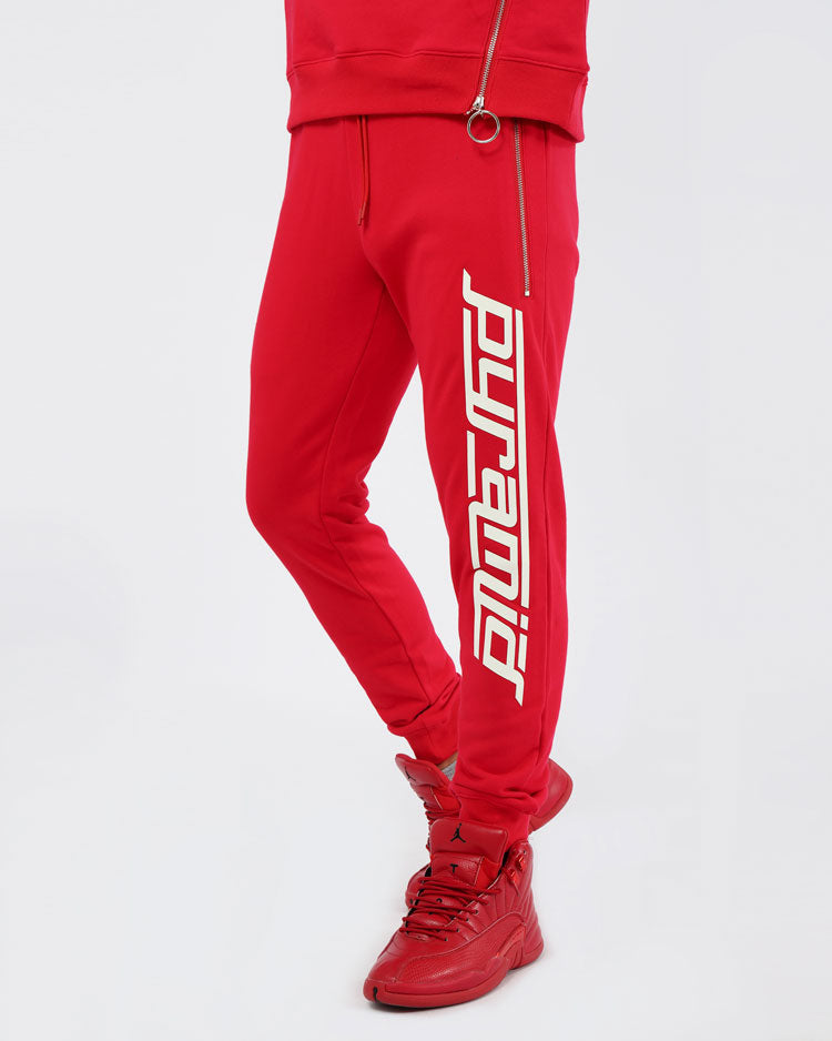 SLANT ZIPPER PANTS-COLOR: RED