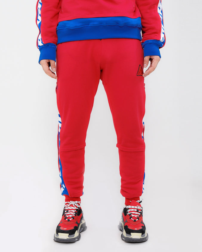 LAYERED ZIP PANTS-COLOR: RED