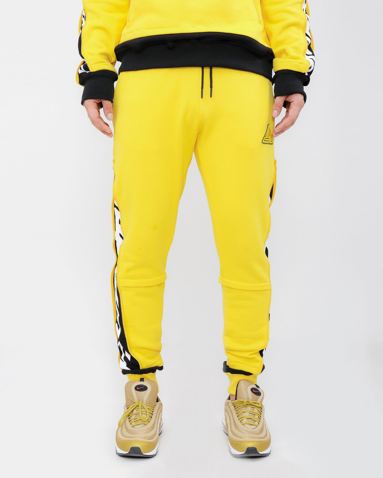 LAYERED ZIP PANTS-COLOR: YELLOW