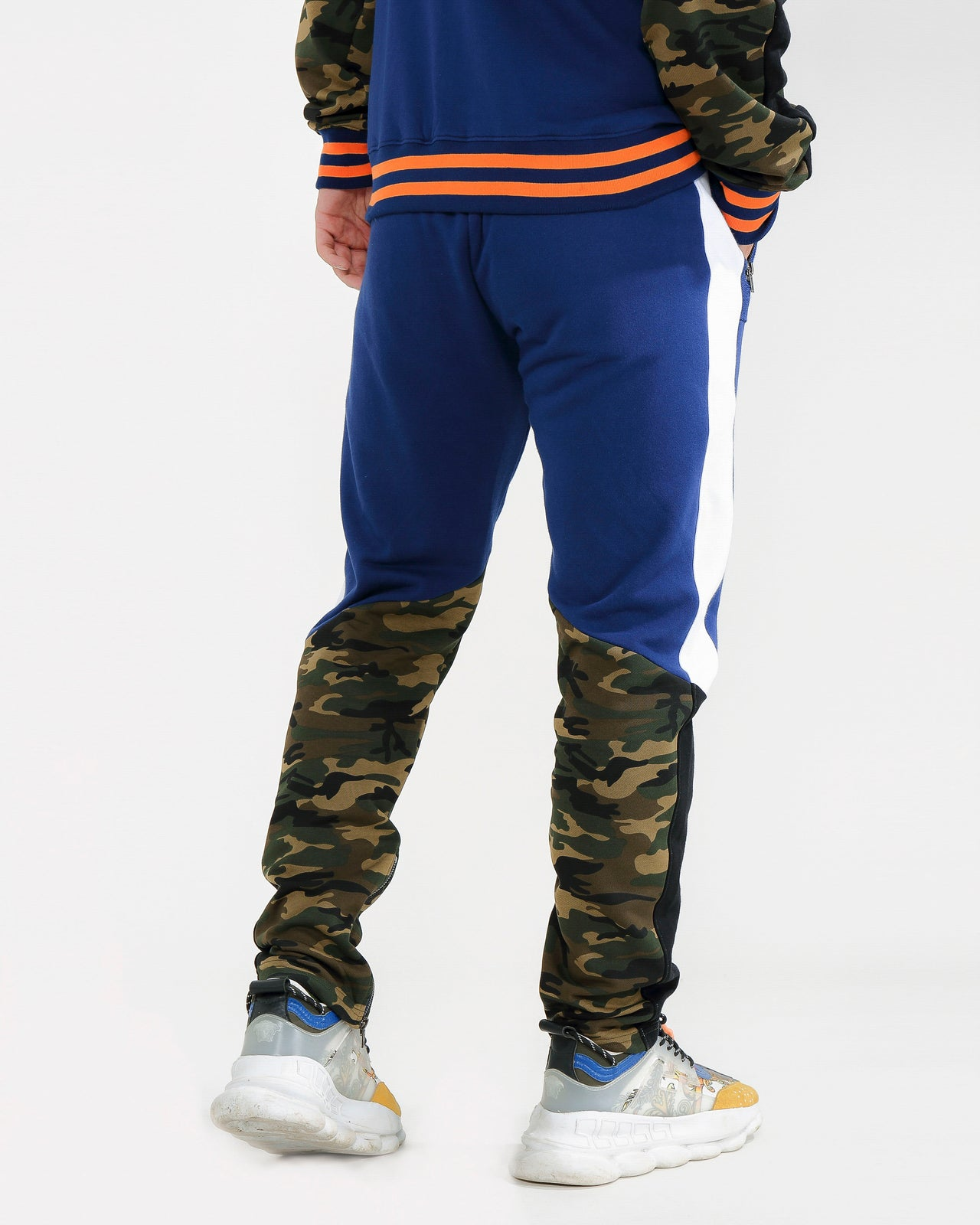 LION CAMO TRACK PANTS-COLOR: BLUE