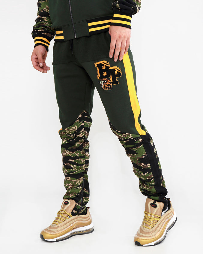 LION CAMO TRACK PANTS-COLOR: OLIVE
