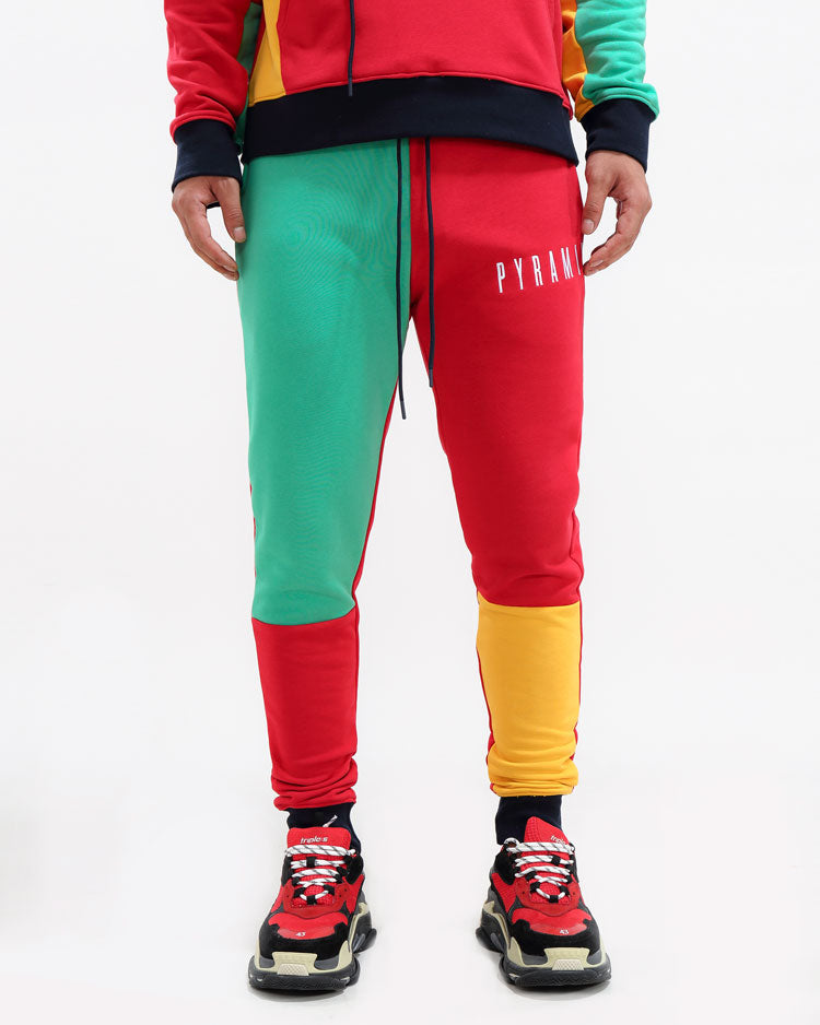 BLOCKED PANTS-COLOR: MULTI COLOR