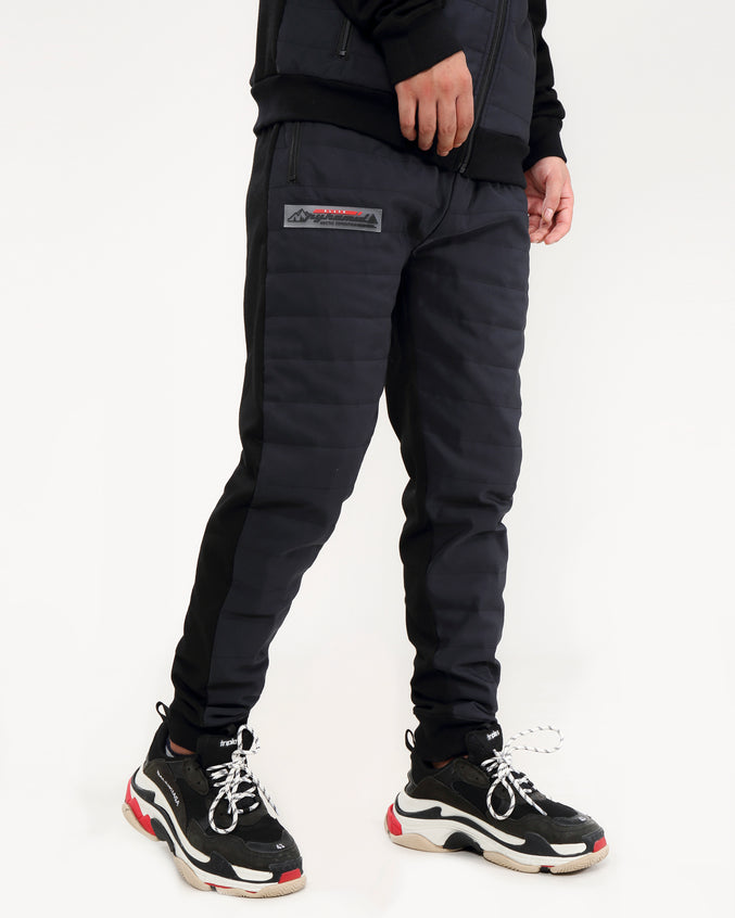 QUILTED NYLON PANEL PANT-COLOR:BLACK