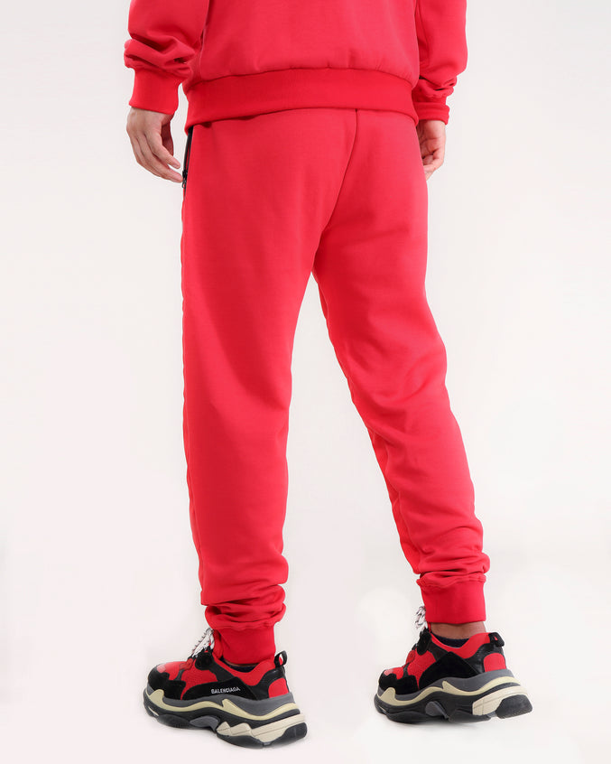 QUILTED NYLON PANEL PANT-COLOR: RED