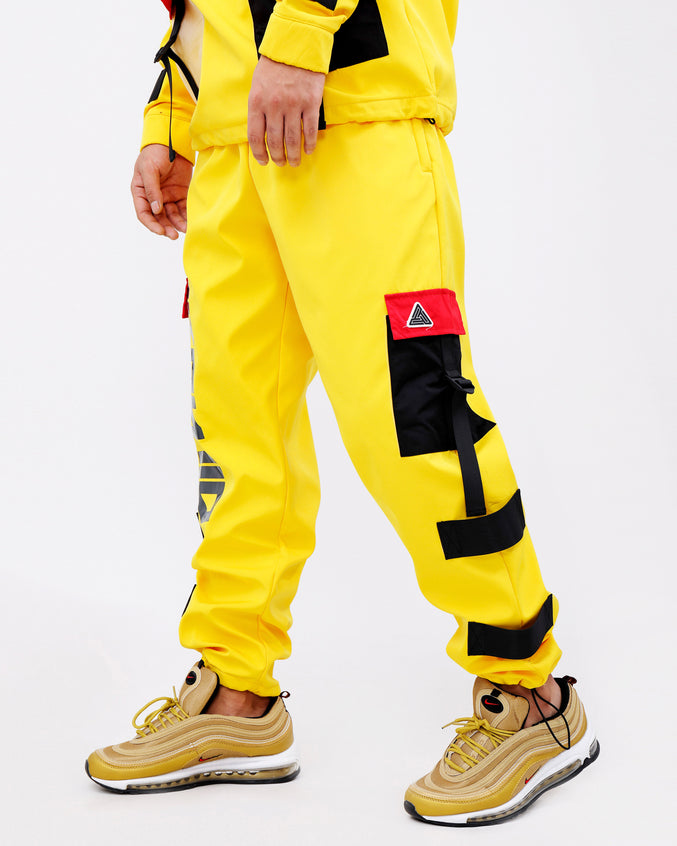 CLEAR POCKET STRAPPED PANTS-COLOR: YELLOW