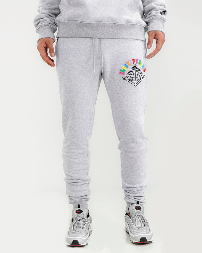 COLORS DRIP LOGO PANTS-COLOR: HEATHER GRAY