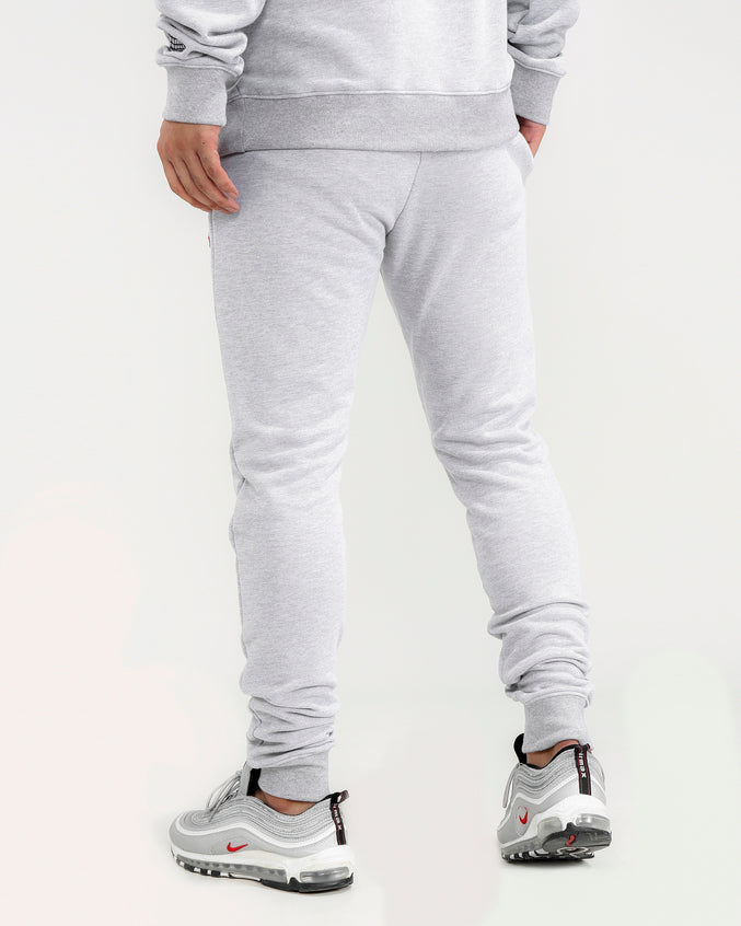 BIG AND TALL COLORS DRIP LOGO PANTS-COLOR: HEATHER GRAY