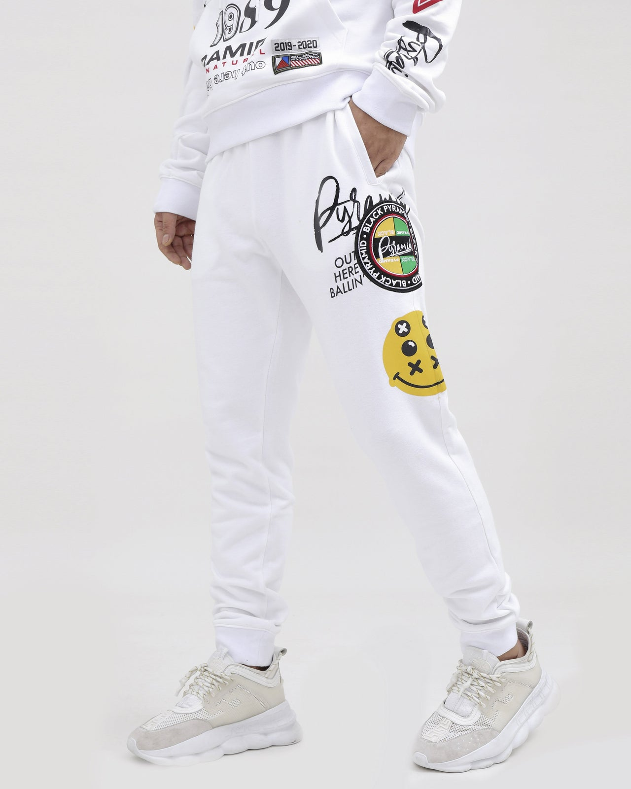 WORLD FAMOUS LOGOS PANTS-COLOR: WHITE