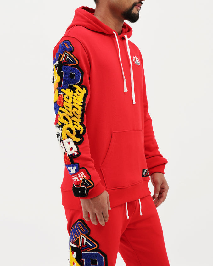 College Mash Pullover Hoody - Color: Red