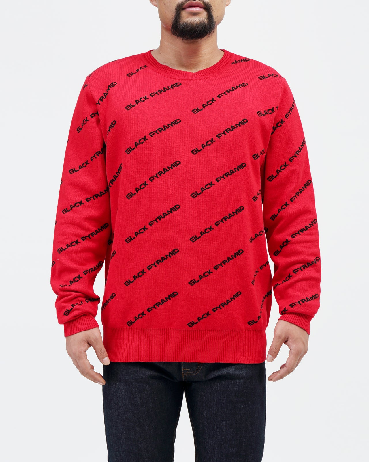 BP Monogram Kint Sweater - Color: RED