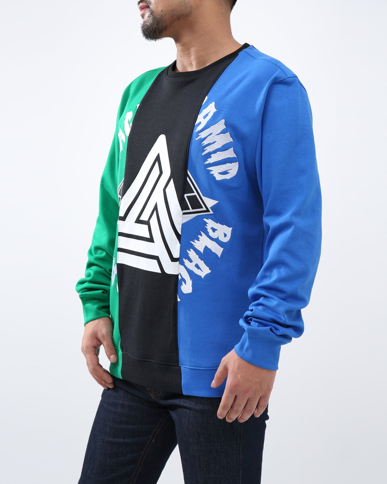 SPLIT 3  WAYS LOGO CREW - Color: Green