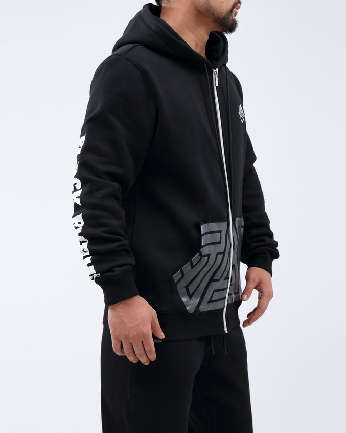 TRIPLE LOGO FULL ZIP HOODIE - Color: Black