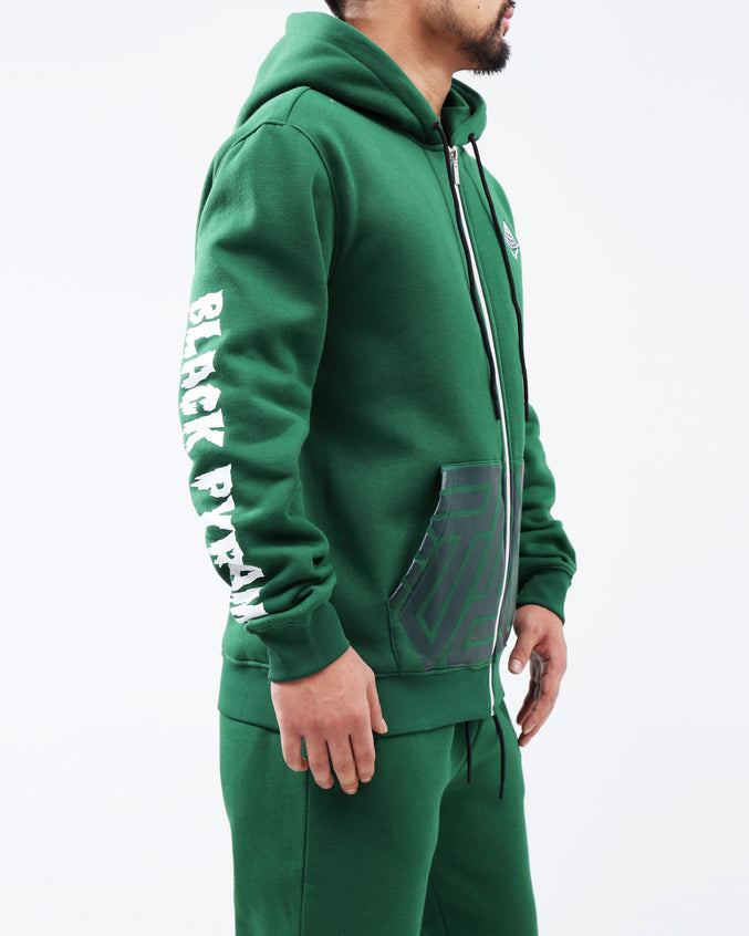 TRIPLE LOGO FULL ZIP HOODIE - Color: Green